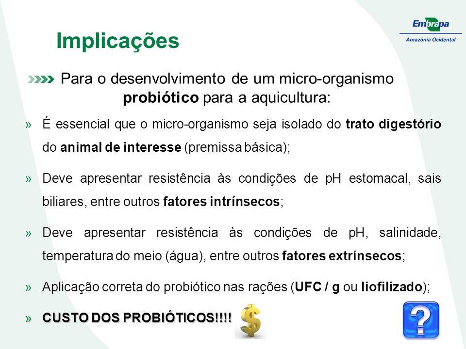 Implicações Para o desenvolvimento de um micro-organismo probiótico para a aquicultura: »É essencial que o micro-organismo seja isolado do trato diges