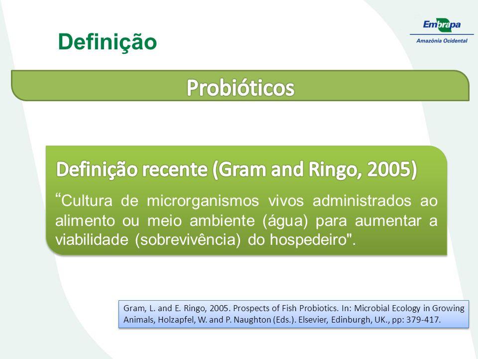 Cultura de microrganismos vivos administrados ao alimento ou meio ambiente (água) para aumentar a viabilidade (sobrevivência) do hospedeiro