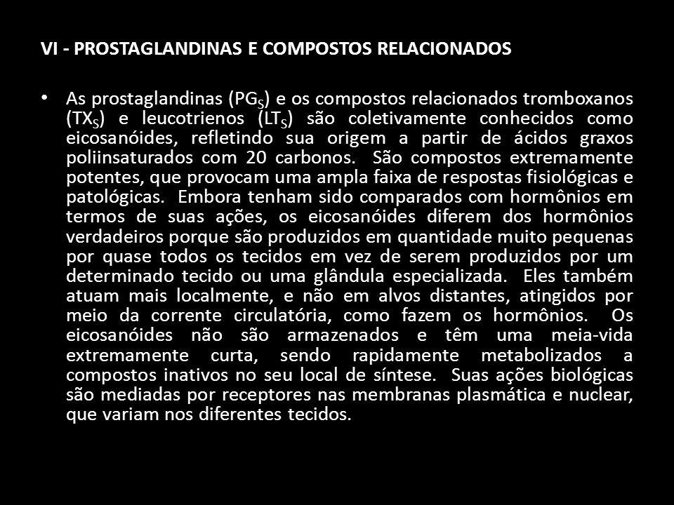 VI - PROSTAGLANDINAS E COMPOSTOS RELACIONADOS As prostaglandinas (PG S ) e os compostos relacionados tromboxanos (TX S ) e leucotrienos (LT S ) são co