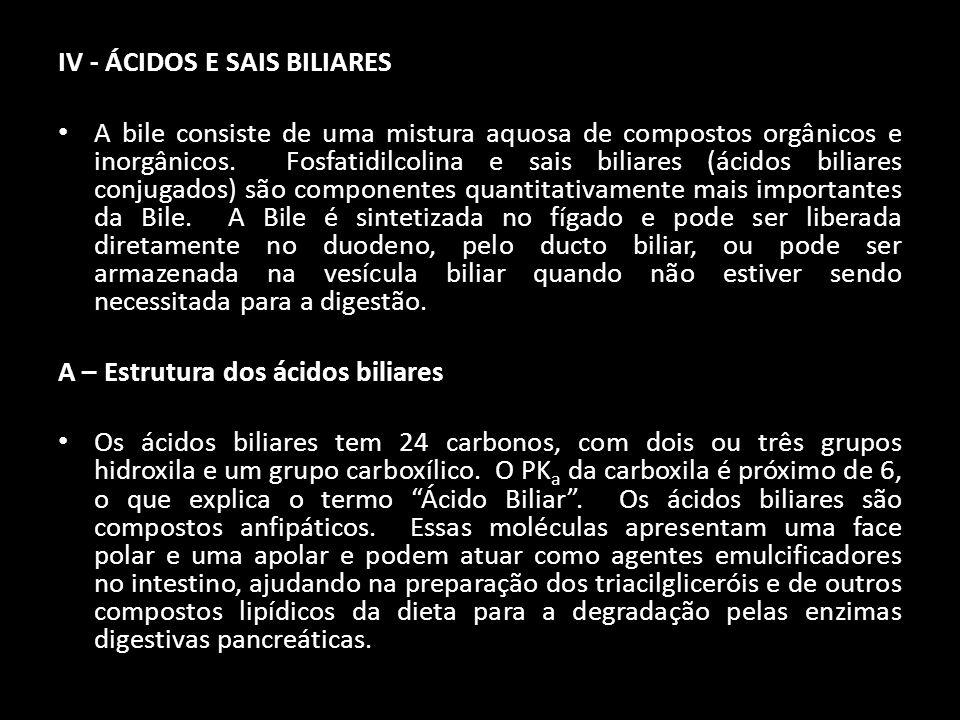IV - ÁCIDOS E SAIS BILIARES A bile consiste de uma mistura aquosa de compostos orgânicos e inorgânicos. Fosfatidilcolina e sais biliares (ácidos bilia