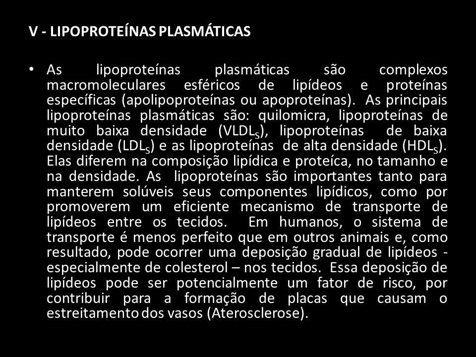 V - LIPOPROTEÍNAS PLASMÁTICAS As lipoproteínas plasmáticas são complexos macromoleculares esféricos de lipídeos e proteínas específicas (apolipoproteí