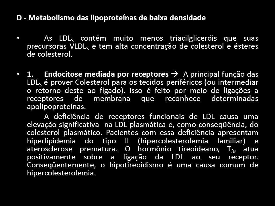 D - Metabolismo das lipoproteínas de baixa densidade As LDL S contém muito menos triacilgliceróis que suas precursoras VLDL S e tem alta concentração