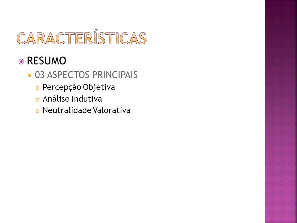RESUMO 03 ASPECTOS PRINCIPAIS Percepção Objetiva Análise Indutiva Neutralidade Valorativa