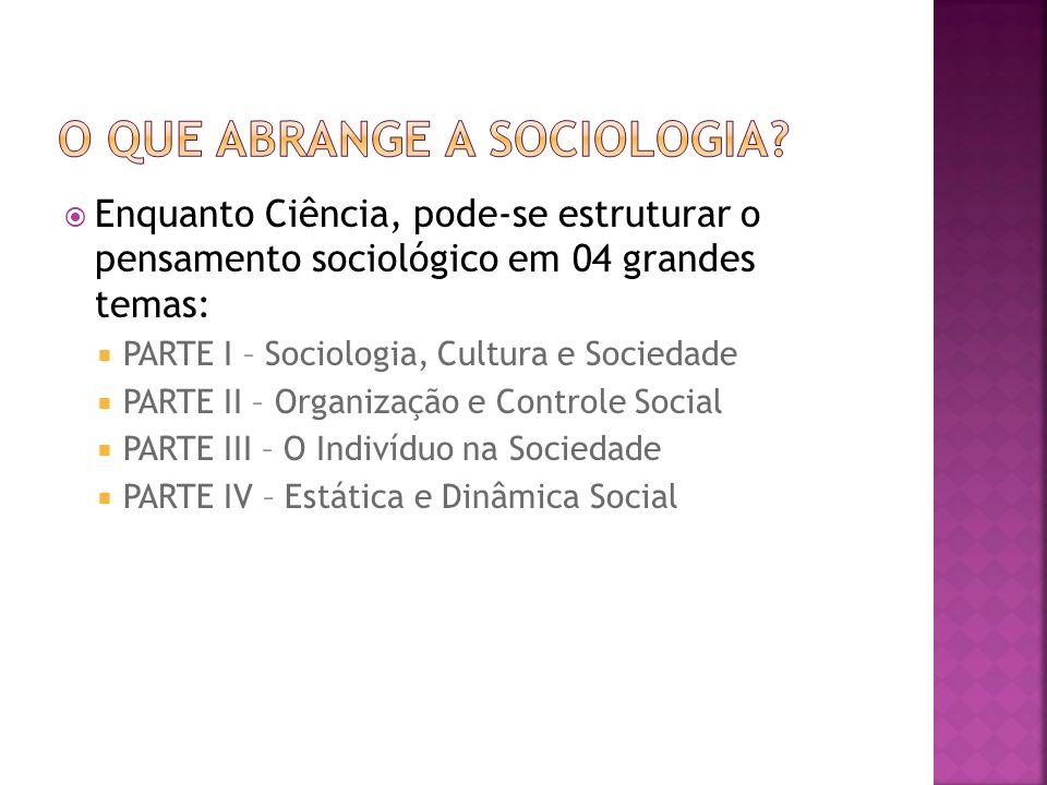 Enquanto Ciência, pode-se estruturar o pensamento sociológico em 04 grandes temas: PARTE I – Sociologia, Cultura e Sociedade PARTE II – Organização e