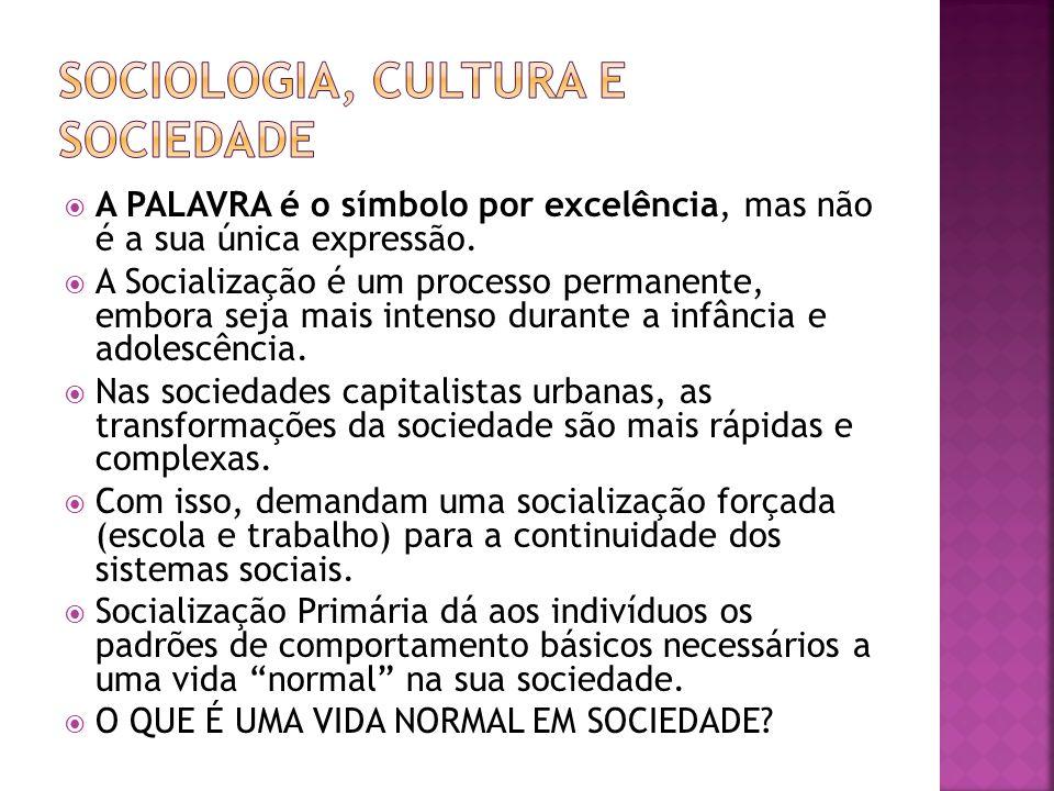 A PALAVRA é o símbolo por excelência, mas não é a sua única expressão. A Socialização é um processo permanente, embora seja mais intenso durante a inf