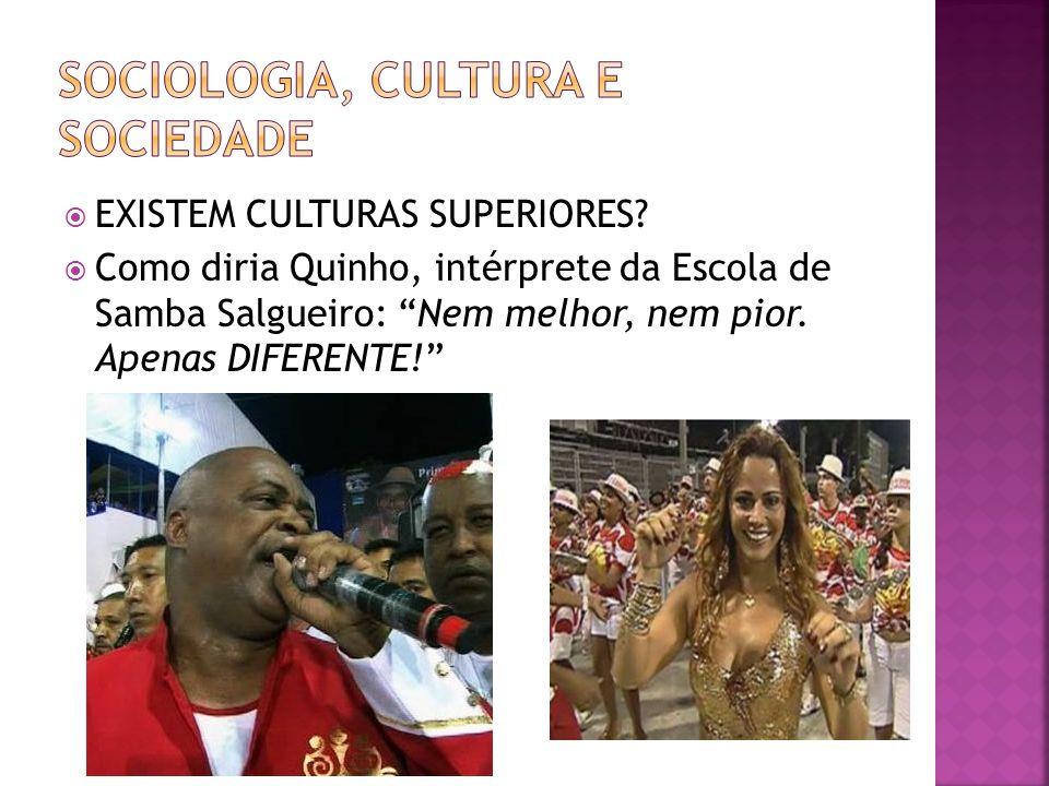 EXISTEM CULTURAS SUPERIORES? Como diria Quinho, intérprete da Escola de Samba Salgueiro: Nem melhor, nem pior. Apenas DIFERENTE!