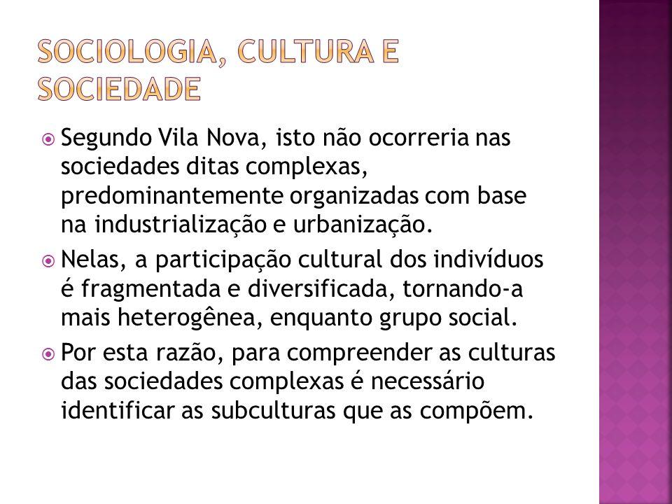 Segundo Vila Nova, isto não ocorreria nas sociedades ditas complexas, predominantemente organizadas com base na industrialização e urbanização. Nelas,