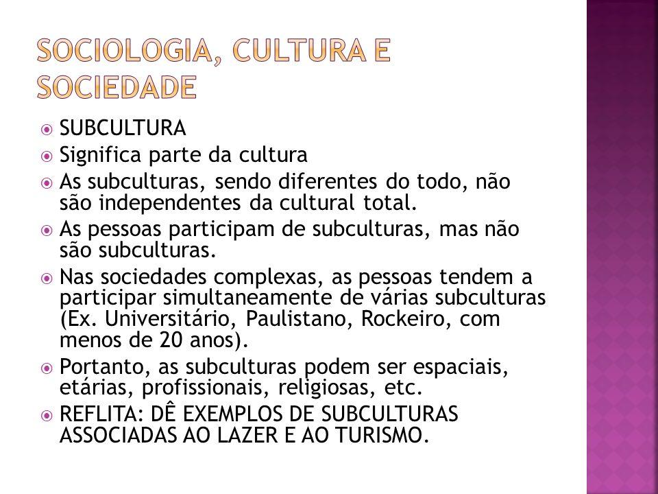 SUBCULTURA Significa parte da cultura As subculturas, sendo diferentes do todo, não são independentes da cultural total. As pessoas participam de subc
