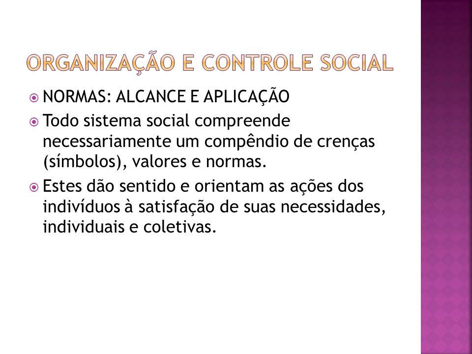 NORMAS: ALCANCE E APLICAÇÃO Todo sistema social compreende necessariamente um compêndio de crenças (símbolos), valores e normas. Estes dão sentido e o