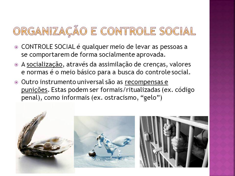 CONTROLE SOCIAL é qualquer meio de levar as pessoas a se comportarem de forma socialmente aprovada. A socialização, através da assimilação de crenças,