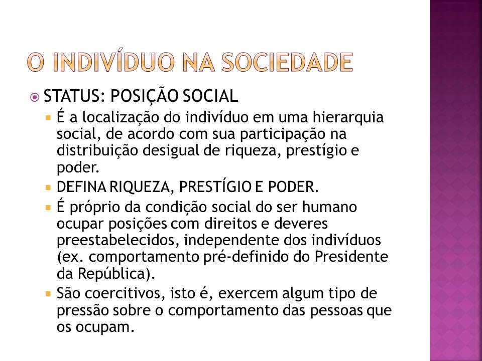 STATUS: POSIÇÃO SOCIAL É a localização do indivíduo em uma hierarquia social, de acordo com sua participação na distribuição desigual de riqueza, pres