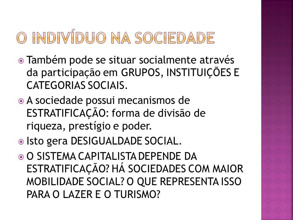 Também pode se situar socialmente através da participação em GRUPOS, INSTITUIÇÕES E CATEGORIAS SOCIAIS. A sociedade possui mecanismos de ESTRATIFICAÇÃ