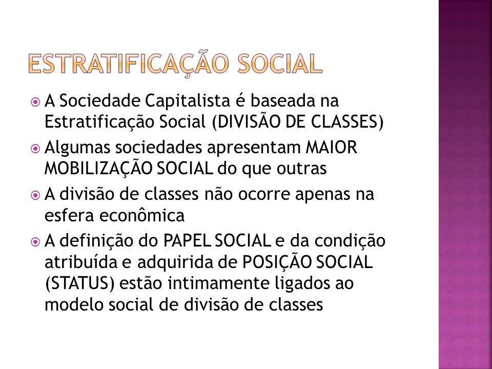 A Sociedade Capitalista é baseada na Estratificação Social (DIVISÃO DE CLASSES) Algumas sociedades apresentam MAIOR MOBILIZAÇÃO SOCIAL do que outras A