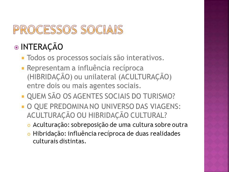 INTERAÇÃO Todos os processos sociais são interativos. Representam a influência recíproca (HIBRIDAÇÃO) ou unilateral (ACULTURAÇÃO) entre dois ou mais a