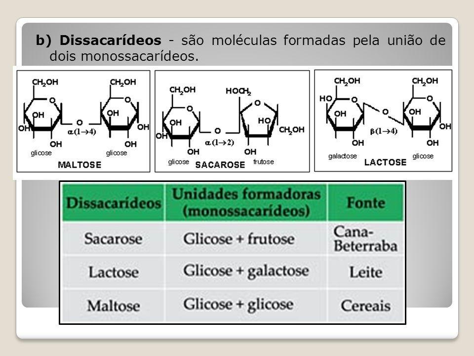 c) Polissacarídeos - são moléculas grandes, formadas de centenas ou milhares de monossacarídeos AMIDO – carboidrato de reserva dos vegetais GLICOGÊNIO – carboidrato de reserva dos animais CELULOSE – reforço da parede celular dos vegetais QUITINA – polissacarídeo nitrogenado presente no exoesqueleto dos artrópodes e na parede celular dos fungos ÁCIDO HIALURÔNICO – ligação entre células dos tecidos animais