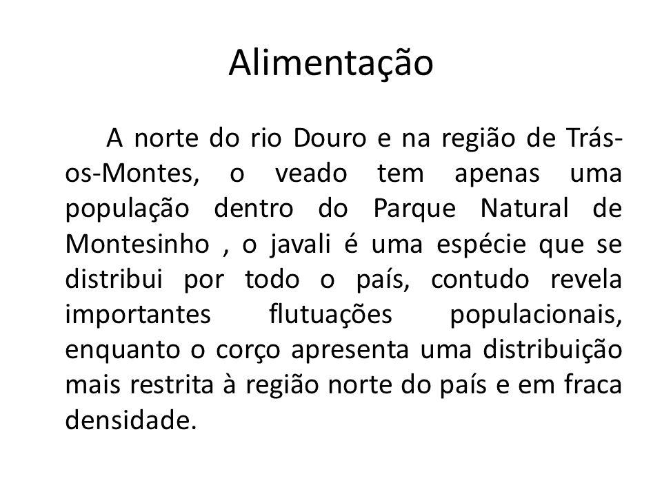 Alimentação A norte do rio Douro e na região de Trás- os-Montes, o veado tem apenas uma população dentro do Parque Natural de Montesinho, o javali é u