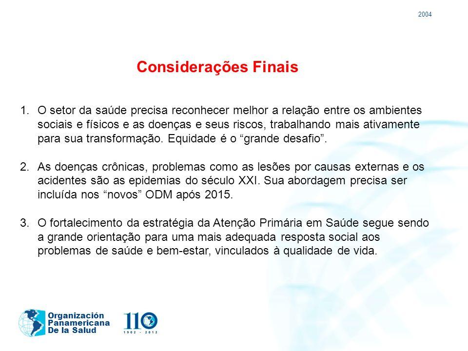 2004 Organización Panamericana De la Salud Considerações Finais 1.O setor da saúde precisa reconhecer melhor a relação entre os ambientes sociais e fí