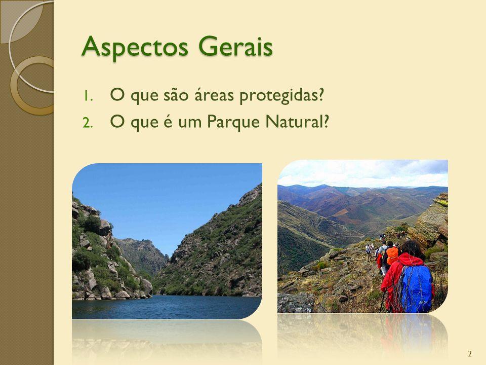2 1. O que são áreas protegidas? 2. O que é um Parque Natural? Aspectos Gerais
