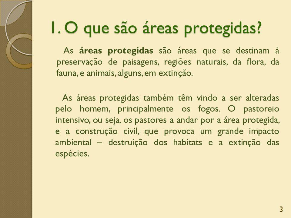 1. O que são áreas protegidas? As áreas protegidas são áreas que se destinam à preservação de paisagens, regiões naturais, da flora, da fauna, e anima
