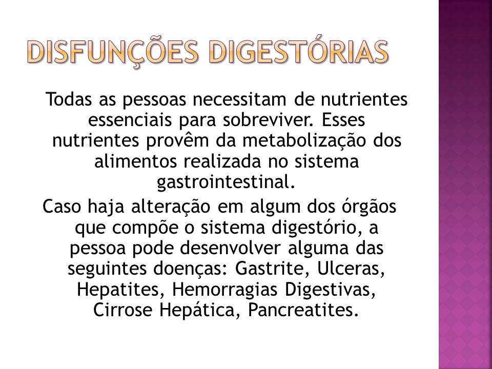 Todas as pessoas necessitam de nutrientes essenciais para sobreviver. Esses nutrientes provêm da metabolização dos alimentos realizada no sistema gast