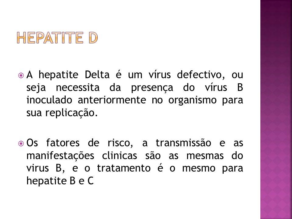 A hepatite Delta é um vírus defectivo, ou seja necessita da presença do vírus B inoculado anteriormente no organismo para sua replicação. Os fatores d