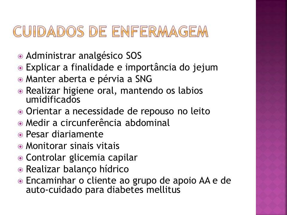 Administrar analgésico SOS Explicar a finalidade e importância do jejum Manter aberta e pérvia a SNG Realizar higiene oral, mantendo os labios umidifi