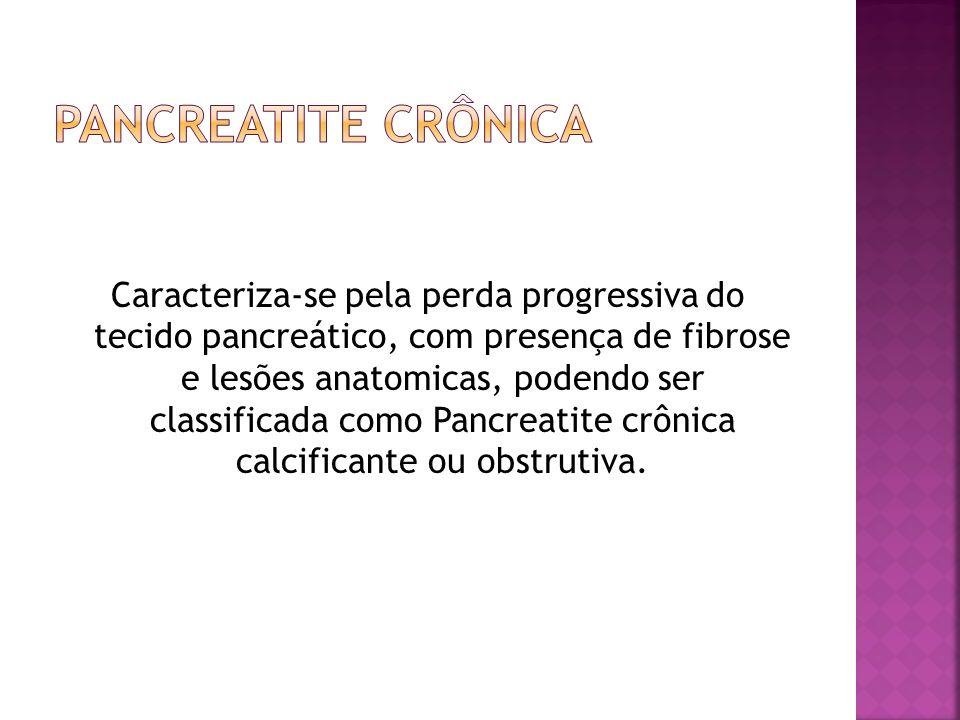 Caracteriza-se pela perda progressiva do tecido pancreático, com presença de fibrose e lesões anatomicas, podendo ser classificada como Pancreatite cr