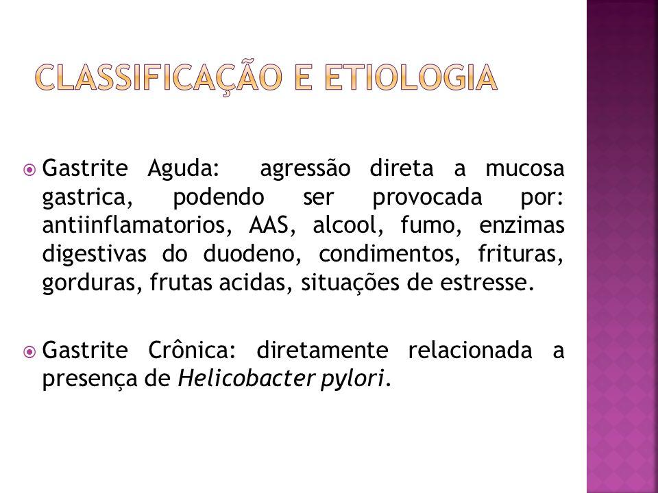 Gastrite Aguda: agressão direta a mucosa gastrica, podendo ser provocada por: antiinflamatorios, AAS, alcool, fumo, enzimas digestivas do duodeno, con