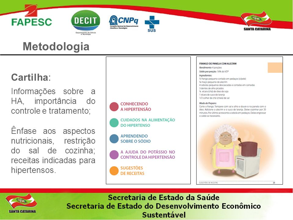 Metodologia Cartilha: Informações sobre a HA, importância do controle e tratamento; Ênfase aos aspectos nutricionais, restrição do sal de cozinha; rec