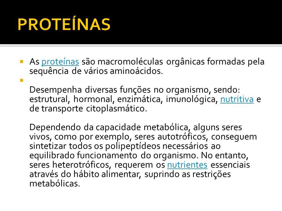 As proteínas são macromoléculas orgânicas formadas pela sequência de vários aminoácidos.proteínas Desempenha diversas funções no organismo, sendo: est