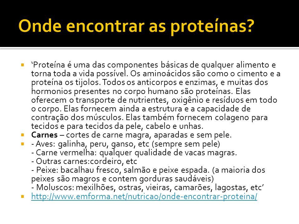 Proteína é uma das componentes básicas de qualquer alimento e torna toda a vida possível. Os aminoácidos são como o cimento e a proteína os tijolos. T