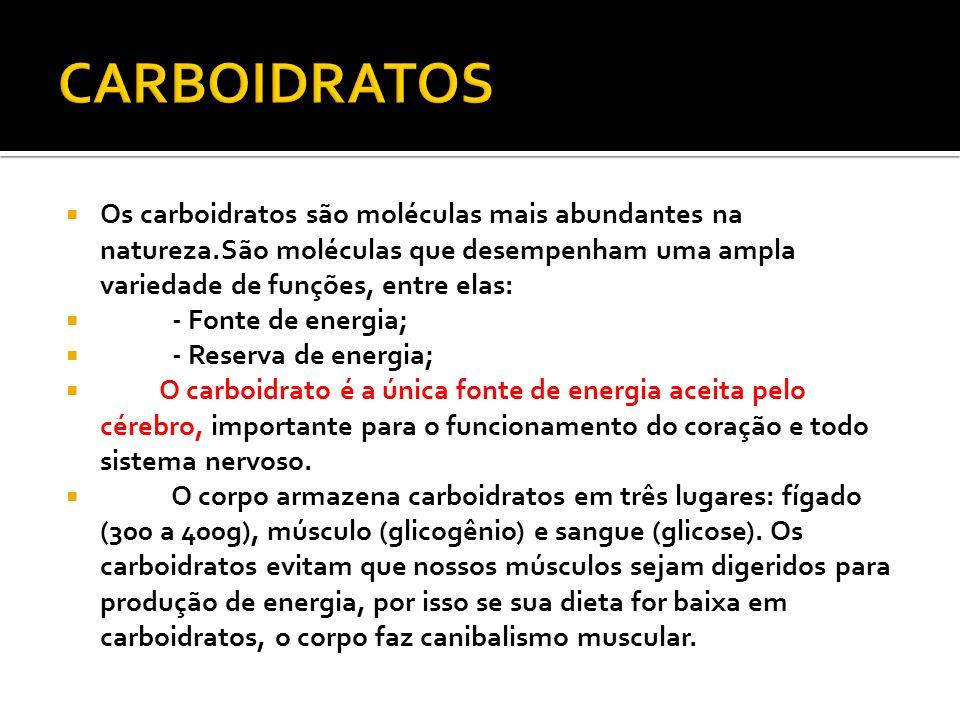 Os carboidratos são moléculas mais abundantes na natureza.São moléculas que desempenham uma ampla variedade de funções, entre elas: - Fonte de energia