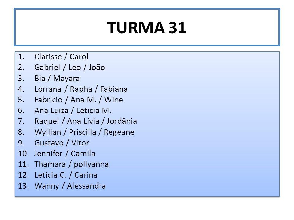TURMA 31 1.Clarisse / Carol 2.Gabriel / Leo / João 3.Bia / Mayara 4.Lorrana / Rapha / Fabiana 5.Fabrício / Ana M. / Wine 6.Ana Luiza / Leticia M. 7.Ra