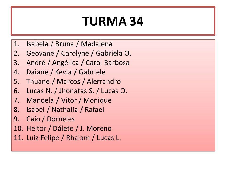 TURMA 34 1.Isabela / Bruna / Madalena 2.Geovane / Carolyne / Gabriela O. 3.André / Angélica / Carol Barbosa 4.Daiane / Kevia / Gabriele 5.Thuane / Mar