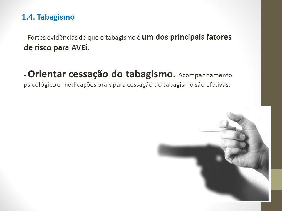 1.4. Tabagismo - Fortes evidências de que o tabagismo é um dos principais fatores de risco para AVEi. - Orientar cessação do tabagismo. Acompanhamento
