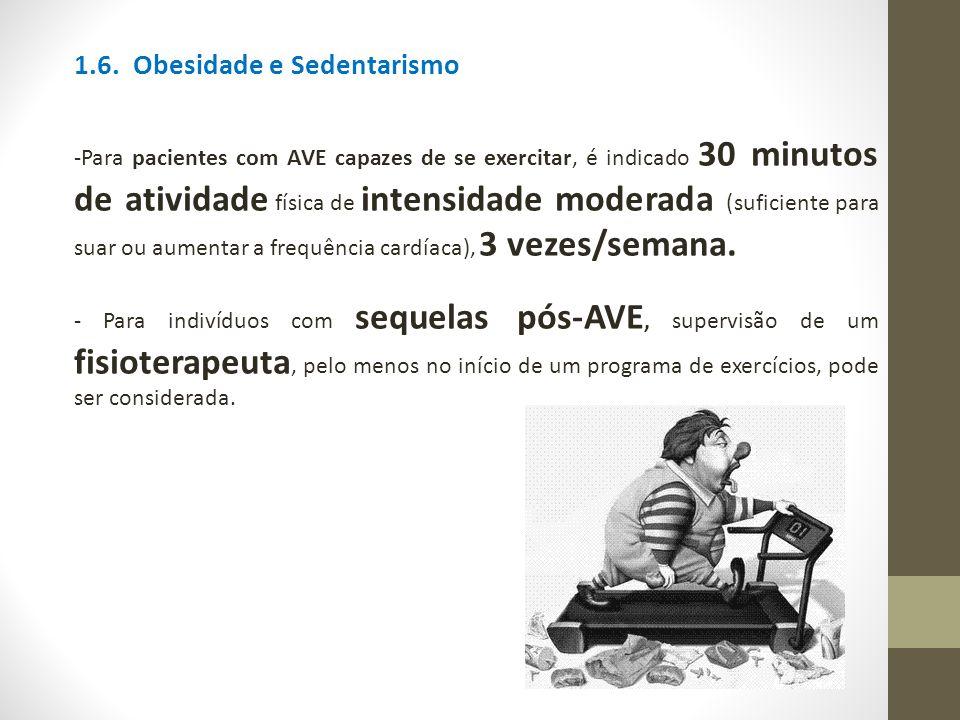 1.6. Obesidade e Sedentarismo -Para pacientes com AVE capazes de se exercitar, é indicado 30 minutos de atividade física de intensidade moderada (sufi