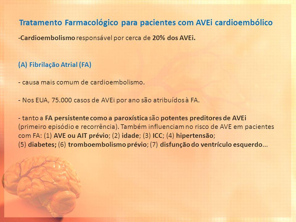 Tratamento Farmacológico para pacientes com AVEi cardioembólico -Cardioembolismo responsável por cerca de 20% dos AVEi. (A)Fibrilação Atrial (FA) - ca