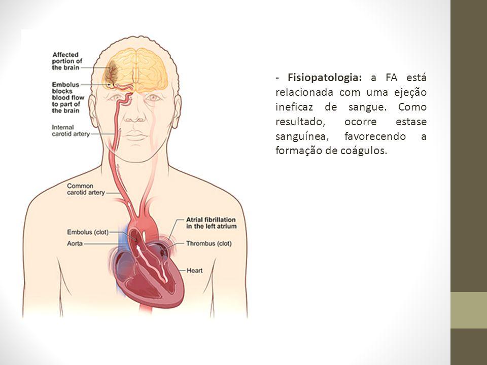 - Fisiopatologia: a FA está relacionada com uma ejeção ineficaz de sangue. Como resultado, ocorre estase sanguínea, favorecendo a formação de coágulos