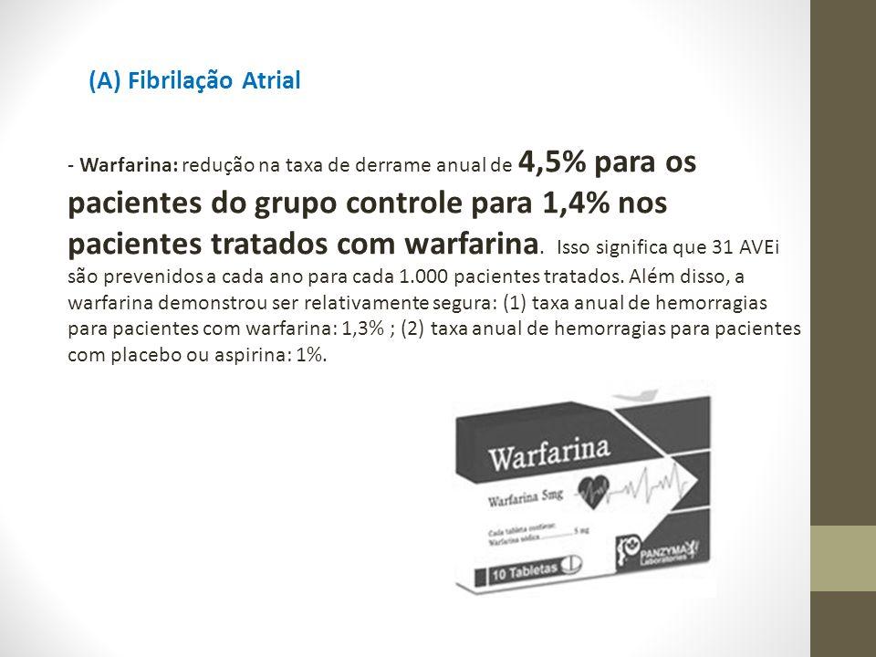 (A) Fibrilação Atrial - Warfarina: redução na taxa de derrame anual de 4,5% para os pacientes do grupo controle para 1,4% nos pacientes tratados com w
