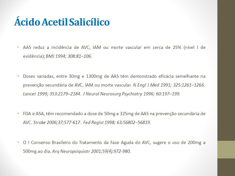 Ácido Acetil Salicílico AAS reduz a incidência de AVC, IAM ou morte vascular em cerca de 25% (nível I de evidência); BMJ 1994; 308:81–106. Doses varia