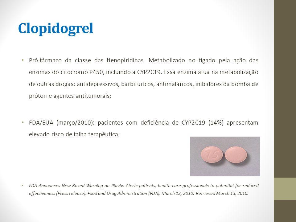 Clopidogrel Pró-fármaco da classe das tienopiridinas. Metabolizado no fígado pela ação das enzimas do citocromo P450, incluindo a CYP2C19. Essa enzima
