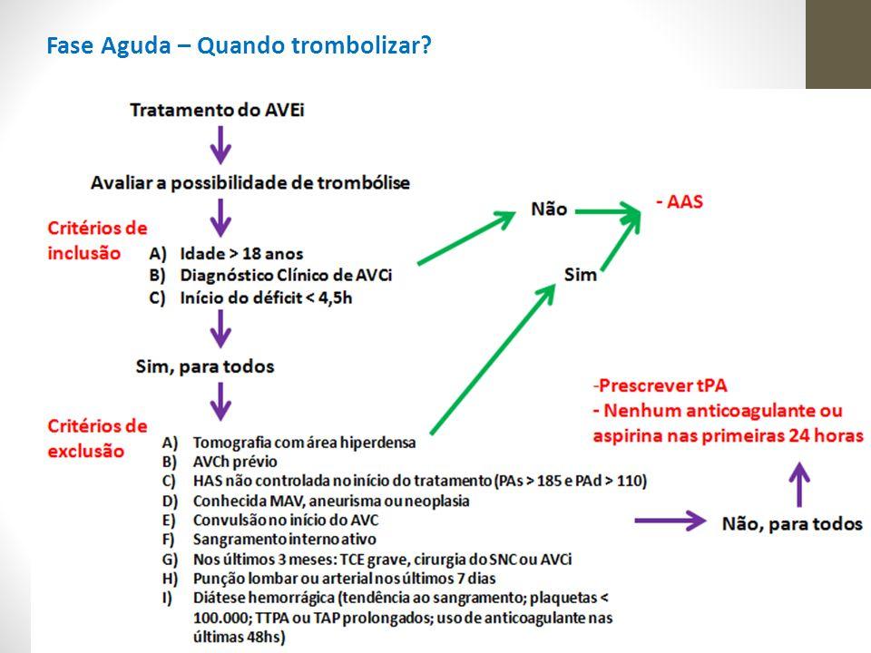 Prevenção Secundária - Após o tratamento agudo > prevenção de recorrência de AVCi - As recomendações baseadas em evidenciais da AHA/ASA são: (1)Controle de fatores de risco (2) Tratamento antitrombótico para o AVE cardioembólico (3) Tratamento antiplaquetário para o AVE não cardioembólico