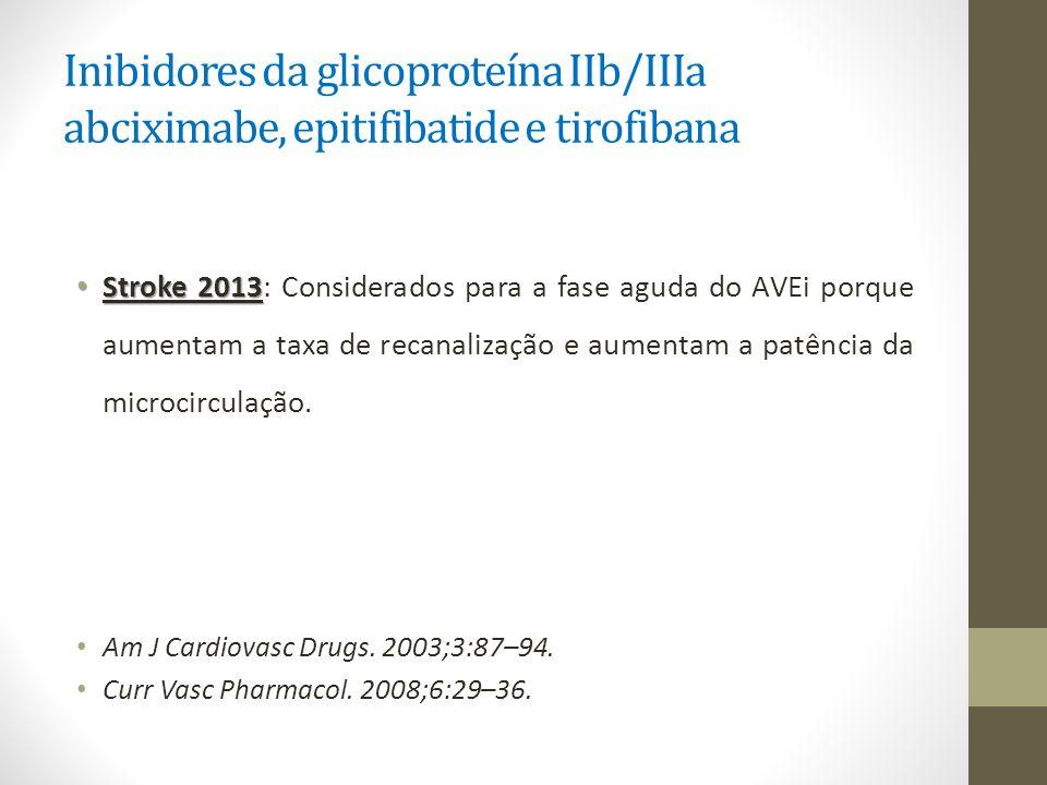Inibidores da glicoproteína IIb/IIIa abciximabe, epitifibatide e tirofibana Stroke 2013 Stroke 2013: Considerados para a fase aguda do AVEi porque aum