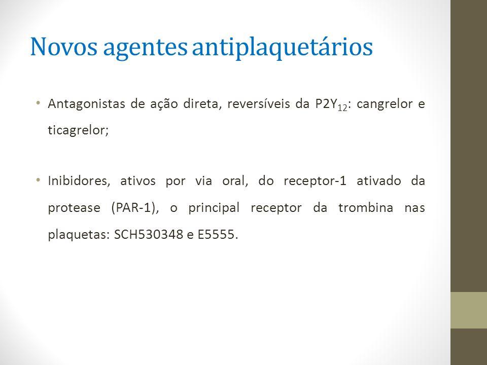 Novos agentes antiplaquetários Antagonistas de ação direta, reversíveis da P2Y 12 : cangrelor e ticagrelor; Inibidores, ativos por via oral, do recept