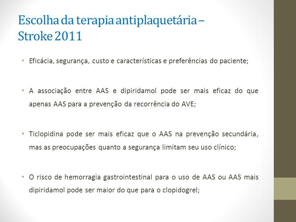 Escolha da terapia antiplaquetária – Stroke 2011 Eficácia, segurança, custo e características e preferências do paciente; A associação entre AAS e dip