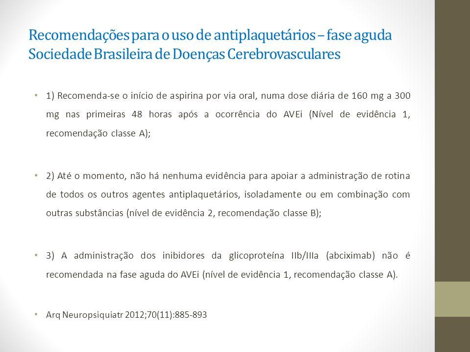 Recomendações para o uso de antiplaquetários – fase aguda Sociedade Brasileira de Doenças Cerebrovasculares 1) Recomenda-se o início de aspirina por v