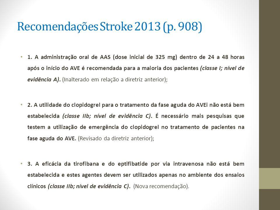 Recomendações Stroke 2013 (p. 908) 1. A administração oral de AAS (dose inicial de 325 mg) dentro de 24 a 48 horas após o início do AVE é recomendada