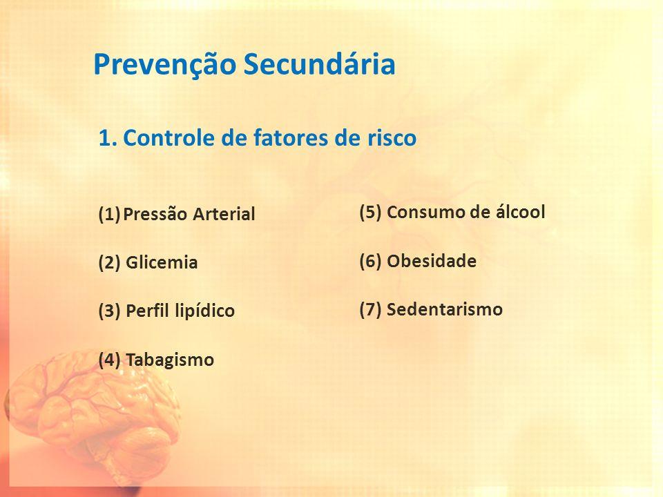 Prevenção Secundária 1.Controle de fatores de risco (1)Pressão Arterial (2) Glicemia (3) Perfil lipídico (4) Tabagismo (5) Consumo de álcool (6) Obesi