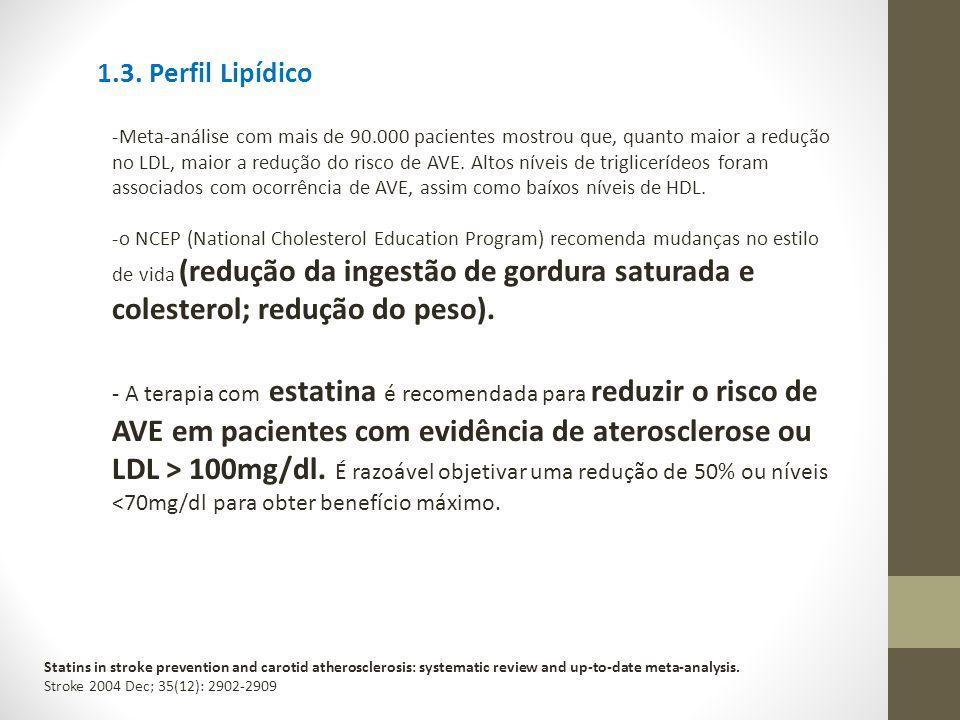 1.3. Perfil Lipídico -Meta-análise com mais de 90.000 pacientes mostrou que, quanto maior a redução no LDL, maior a redução do risco de AVE. Altos nív