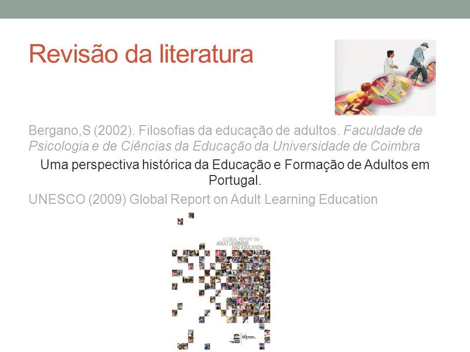 Revisão da literatura Bergano,S (2002). Filosofias da educação de adultos. Faculdade de Psicologia e de Ciências da Educação da Universidade de Coimbr